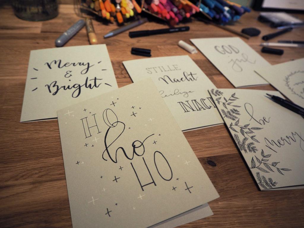 Wrapping wednesday lettering f r weihnachtskarten sk n - Weihnachtskarten kreativ ...