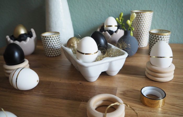 {DIY} Glad Påsk # Natürliche Eierbecher aus Holz & Goldene Ostereier