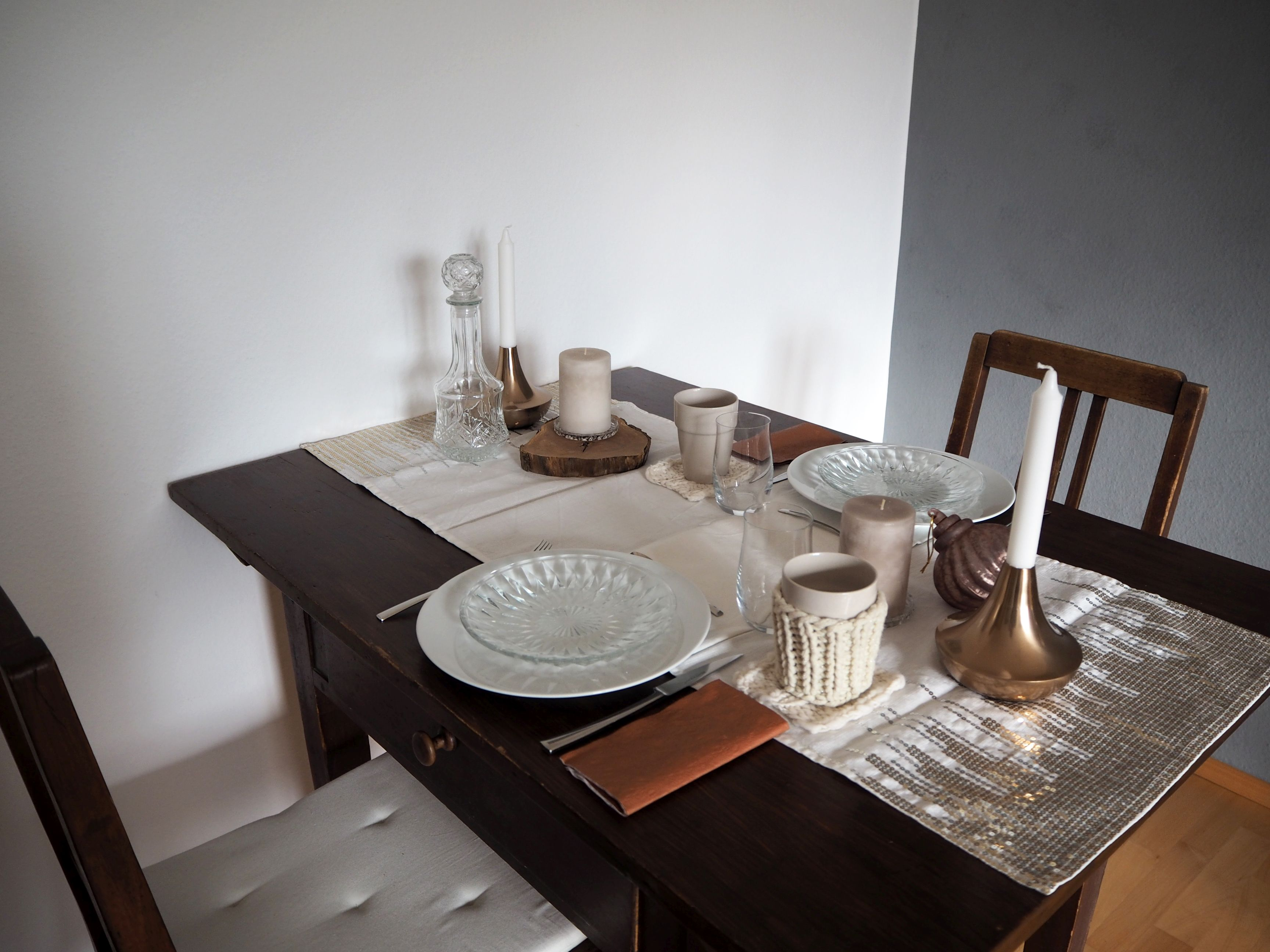 Tischdekoration Kupfernes Spiel Mit Licht Und Glas Skon Och Kreativ