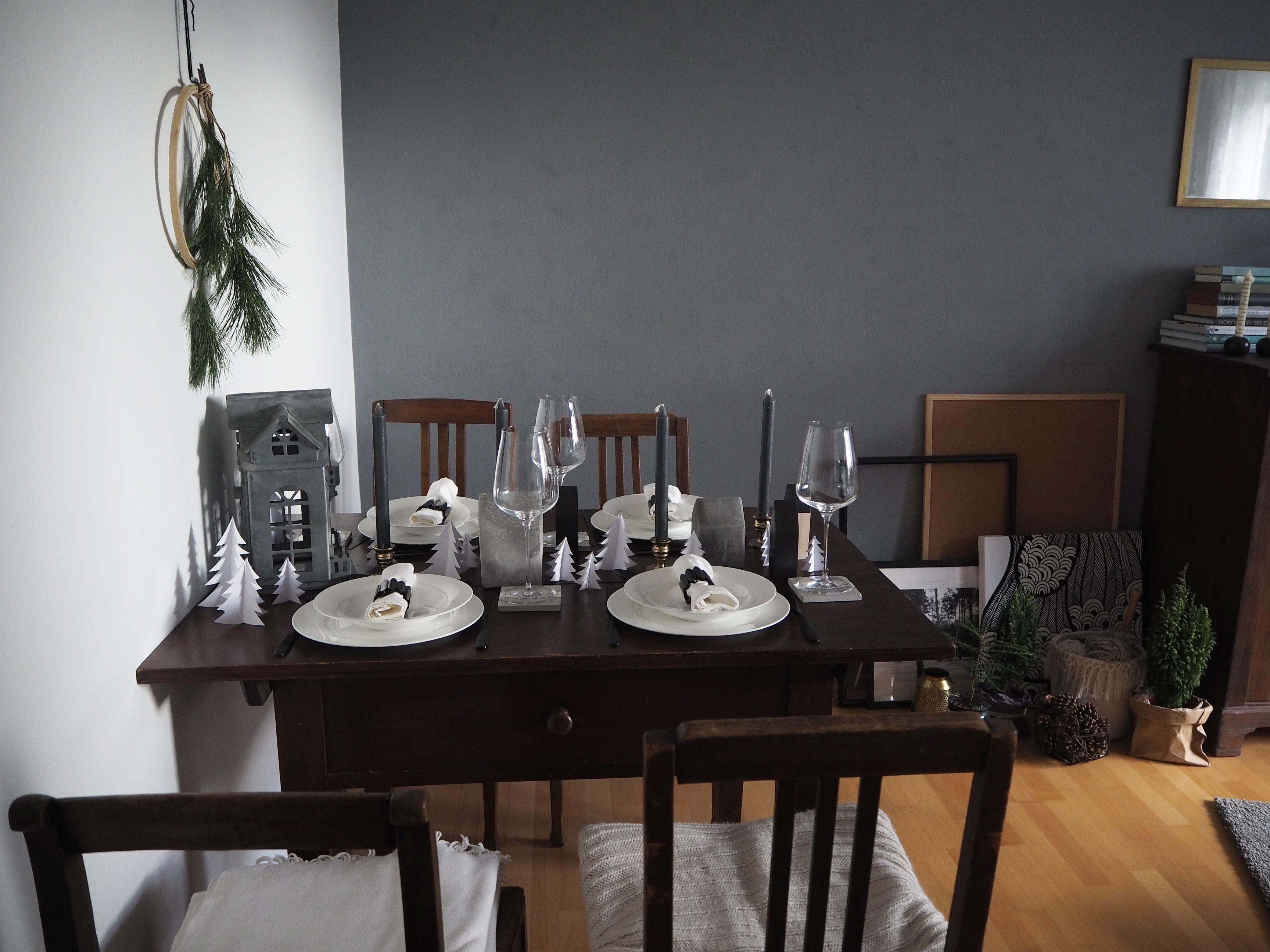 Tischdeko Weihnachtliche Winterlandschaft In Grau Skon Och Kreativ